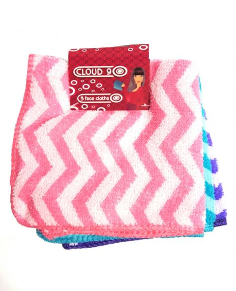 Cloud Nine - 3 Pack Zig Zag Square Soft Face Cloth Flannels